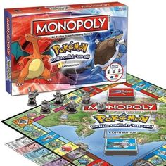 Enjoy a game of Monopoly like never before as you travel the Kanto region and battle all kinds of Pokemon. Buy, sell and trade with other trainers to collect the most powerful team. Guaranteed hours of fun for all Pokemon enthusiasts! Pokemon Go, Pokemon Craft, Pokemon Party, Pokemon Stuff, Pokemon Games, Board Game Geek, Board Games, Mega Charizard, Caleb