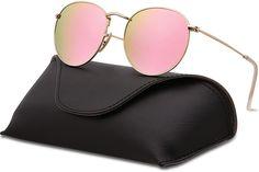 e7fa1214fc Amazon.com  SOJOS Small Round Polarized Sunglasses Mirrored Lens Unisex  Glasses SJ1014 3447 with