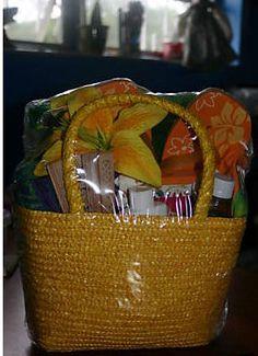 Beach Gift Basket (love the beach bag idea!)