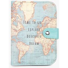 Boohoo Vintage Map Time To Go Passport Holder (365 UAH) ❤ liked on Polyvore featuring accessories