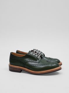 Trickers Green Aniline Derby Brouge