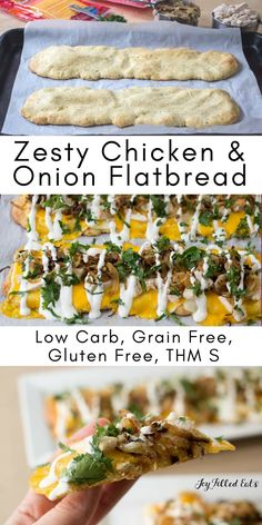 Zesty Chicken & Onion Flatbread - Low Carb, Grain Free, THM S - This Zesty Chicken & Onion Flatbread has layers of cheese, sauteed onions, chicken, cilantro, & lime crema. It is a great lunch, dinner, or party appetizer. #BordenCheeseLove #ad