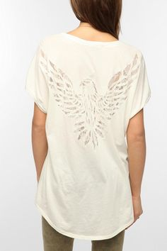 Truly Madly Deeply Lace Inset Eagle Tee  #UrbanOutfitters