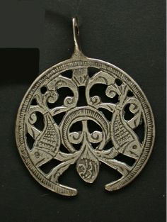 Egypt | Pendant ~ hilal ~ from the Siwa Oasis region; silver | 20th century