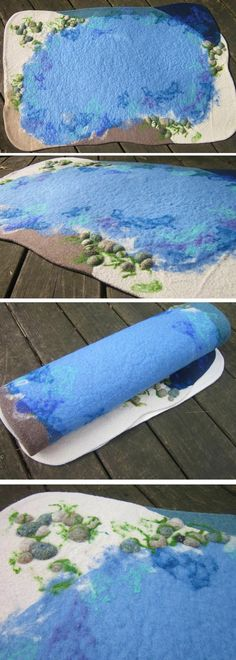 Wool Sea Ocean Playmat Waldorf Toy Needle Felted by WildMarigold, www.etsy.com