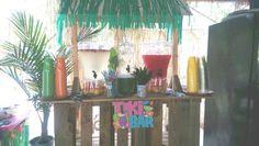 Tiki bar with non-alcoholic refreshments.
