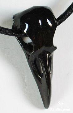 Black Onyx Carved Crystal Raven Skull Pendant