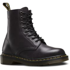 Dr. Martens Pascal Antique Temperley Boot Lace-Up Combat Boot ($135) ❤ liked on Polyvore featuring shoes, boots, ankle booties, charcoal grey, military boots, army boots, lace up booties, leather military boots and lace-up ankle booties