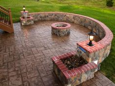 Stamped Concrete and Stone Hardscape Pictures built by All Weather Decks Concrete Stone, Stamped Concrete, Concrete Patio, Concrete Design, Outdoor Fire, Outdoor Living, Fire Pit Materials, Pergola, Backyard Patio Designs