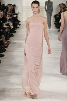 Love the fabric color & cut—beautiful simple gown❣ Ralph Lauren, NYFW FW-2014 • Following Your Passion