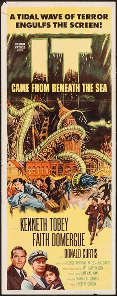 It Came from Beneath the Sea (1955) cool retro b movie monster flick halloween fun advertising art