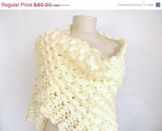 ON SALE Crochet shawl  wedding bridal shawl  ofwhite by ScarfsSale, $60.00