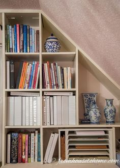 "I have always loved the look of bookshelves that have art hanging on the front of them. Especially in small rooms, it is a great way to create more ""wall space""…"