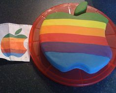 One of the many cool 50th birthday cake ideas we've seen, this retro apple logo cake was baked for a mac lover.