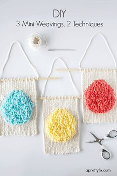 Create these super cute mini weavings using two easy to do weaving techniques. A lovely alternative to wall art and sweet addition to any space.