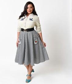 211c27cbdd Hell Bunny Plus Size 1950s Black Gingham High Waist Ladybird Swing Skirt