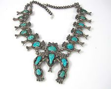 Native American Dead Pawn Sterling Silver Turquoise Squash Blossom Necklace