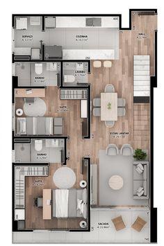 Sims 4 House Design, House Front Design, Small House Design, Modern House Design, Apartment Plans, Apartment Design, Home Design Plans, Home Interior Design, Condo Floor Plans