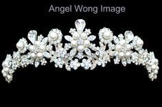 Pearl Wedding Crown Crystal Tiara by WomenHatAccessories on Etsy