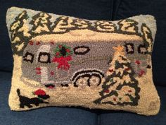 "CHANDLER 4 CORNERS Airstream Camper Christmas Pillow New Hand Hooked Wool 18"" #Chandler4Corners"
