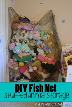 Check out this simple and amazing DIY Fish Net Stuffed Animal Storage