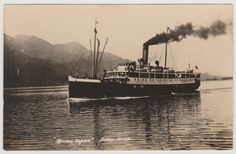 "JUNEAU, AK - Photo postcard of the C.P.R. ""Princess Sophia"" near Juneau, Alaska, likely Lynn Canal sometime between 1911 and her sinking off Vanderbilt Reef in 1918."
