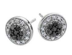 White and Black Diamond Stud Earrings 1/2 Carat (ctw) in Sterling Silver