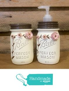Shabby Chic Ivory and Rose Vintage Mason Jar Bathroom or Desk Set with Soap Dispenser and Toothbrush or Pen and Pencil Holder from AmericanaGloriana https://www.amazon.com/dp/B01GLO24IY/ref=hnd_sw_r_pi_dp_QcQzxbH86BW4Z #handmadeatamazon