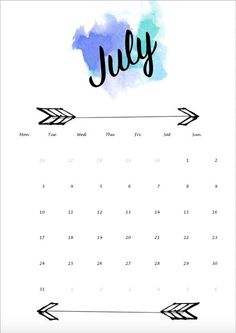 July Calander, 2017 July Calendar, Calendar Ideas, Planner Ideas, Monthly  Calendars, Birthday Calender, Water Colors, Phone Backgrounds, Iphone  Wallpapers