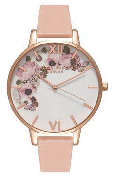 Olivia Burton 'Enchanted Garden' Leather Strap Watch, 38mm