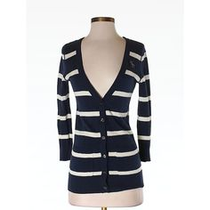 Pre-owned Abercrombie & Fitch Cardigan (135 EGP) ❤ liked on Polyvore featuring tops, cardigans, navy blue, navy top, navy blue cardigan, navy cardigan, abercrombie fitch top and navy blue tops