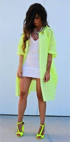 fluorescent- I love the color... but seriously!  Put some pants on!