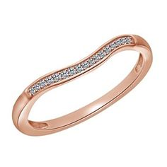 10K Rose Gold Diamond  Classic Anniversary Band Ring # Free Stud Earrings by JewelryHub on Opensky