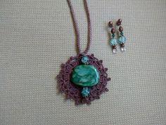 Colgante crochet y jade + pendientes