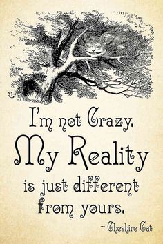 """""""I'm not crazy. My reality is just different from yours."""""""