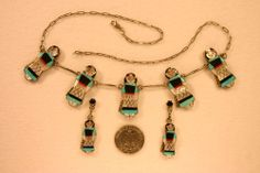 ZUNI INDIAN MAIDEN Necklace Earrings, Sterling A.J. WASETA, GORGEOUS INLAY New