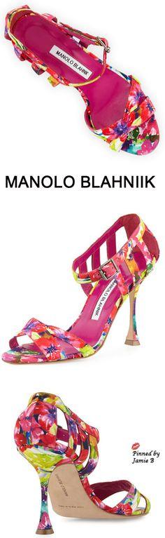 Manolo Blahnik | Ranca Floral-Print Strappy Sandal | Jamie B
