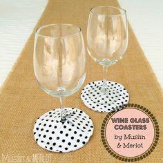 Tutorial: Wine Glass Coasters! - Muslin and Merlot Homemade Coasters, Diy Coasters, Glass Coasters, Quilted Coasters, Fabric Coasters, Fabric Crafts, Sewing Crafts, Sewing Projects, Crafty Projects