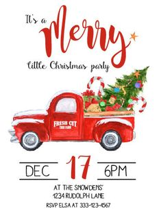 Red truck invitation, Christmas party invitation, Holiday party invitation, Vintage truck, Truck and - Gala İnvitation Christmas Red Truck, Christmas In July, Country Christmas, Vintage Christmas, Christmas Cards, Christmas Party Themes, Xmas Party, Holiday Parties, Holiday Decor