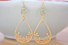 Gold Earrings Dangle Earrings Mint and Gold by AvaHopeDesigns