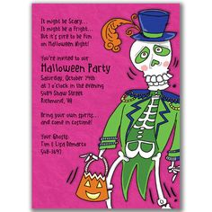 Cool Skeleton Invitations for Halloween Birthday Party Kids or Adults. $20.25, via Etsy.