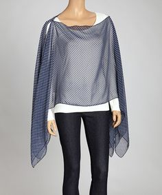 Take a look at this Navy Polka Dot Sidetail Poncho by Indian Tropical Fashions on #zulily today!