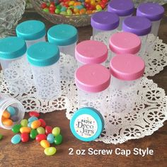 SOMEONE IN TEXAS is having a party! Just bought from DecoJars.com!  12 Pink Aqua Purple Caps 2oz  Candy Pill Bottles Doc McStuffins  4314  DecoJars