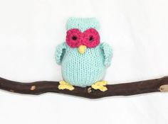 Hand Knit Owl Mint green hot Pink Yellow by DaisyBelleDesignCo, $16.50