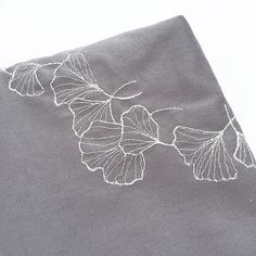 FREE INTERNATIONAL SHIPPING! The delicate gingko leaf embroidery design on this bag is free-hand machine embroidered by the seller. Grey cotton