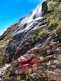 Traveling Alone Fearlessly climbed waterfalls in Huaraz Peru. South America