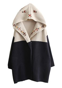 Navy Hooded Long Sleeve Tribal Embroidery Sweater Coat and other apparel, accessories and trends. Browse and shop 6 related looks. Look Fashion, Winter Fashion, Womens Fashion, Fashion Trends, Modern Fashion, Fashion Bags, Hooded Cardigan, Wool Cardigan, Black Cardigan
