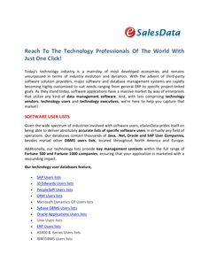 reach-to-the-technology-professionals-of-the-world-with-just-one-click by eSalesData via Slideshare