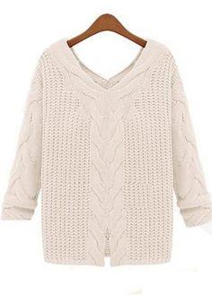 Brief Three Quarter Sleeve V Neck White Pullovers | Rosewe.com