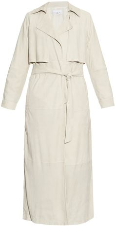 RAEY Long-line suede trench coat White Winter Coat, White Trench Coat, Suede Trench Coat, Trench Coats, Women Wear, Fashion Design, Suede Leather, Shopping, Ivory White